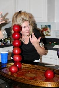 Stacking Six Apples...Nice Job Pam!