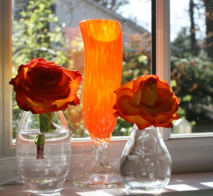 Roses on window sill