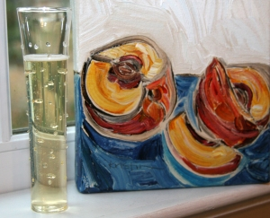 Champs and art in window-