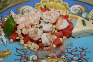 Entree Seafood Shrimp Corn Watermelon