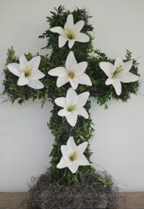Cross Boxwood and lilies