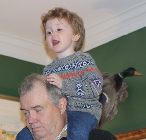 Caught a ride on GrandDad's shoulders.