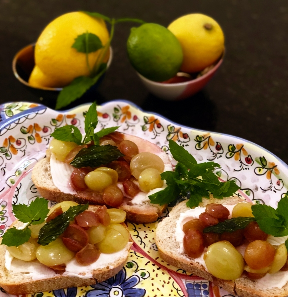 Appetizer Grape Goat Cheese Bruschetta