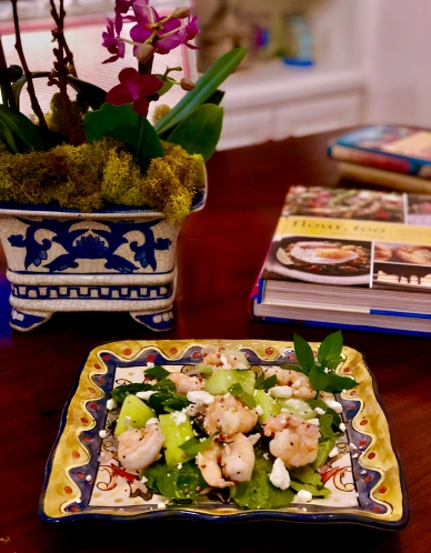 Entree Seafood Warm Shrimp with Melon and Feta.jpg