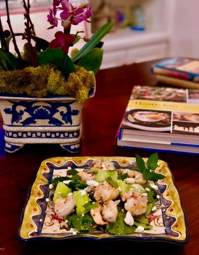 Entree Seafood Warm Shrimp with Melon and Feta.jpg